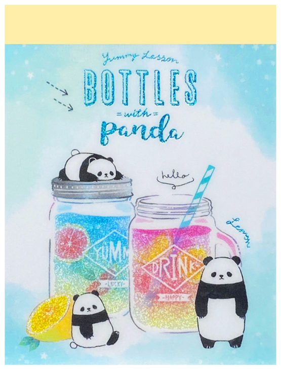 Q-Lia Lemon Bottles with Panda Mini Memo Pad